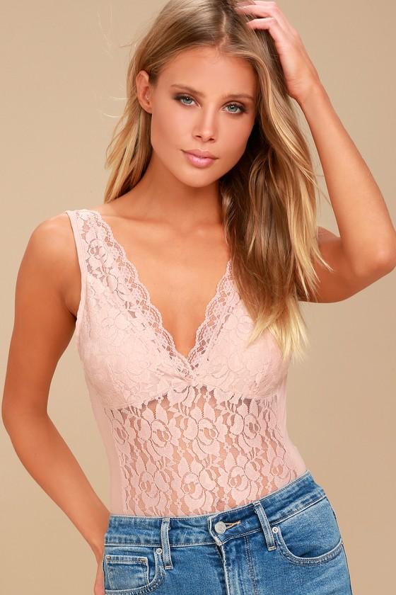 Dim the Lights Blush Pink Lace Bodysuit 6