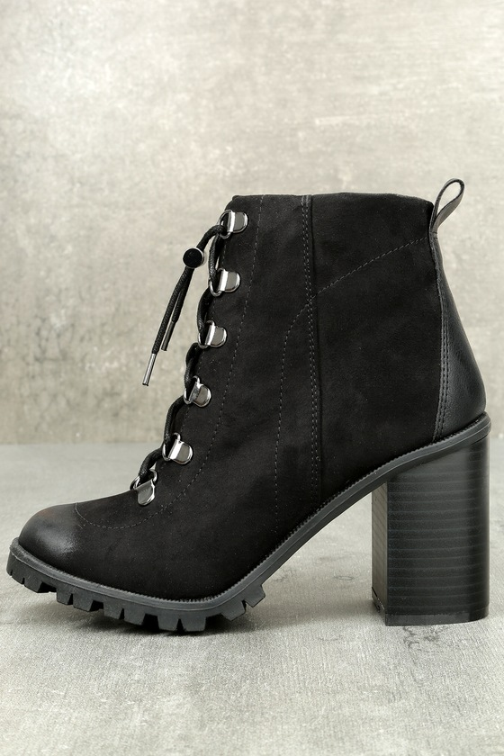 Adda Black Lace-Up Platform Booties 1
