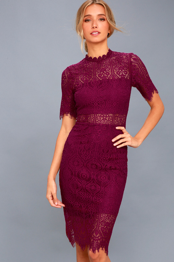 chic burgundy dress lace dress sheath dress