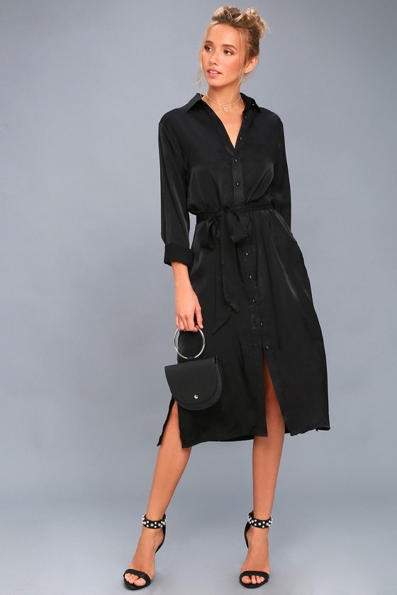 37e70cdfb7946e Chic Black Shirt Dress - Long Sleeve Dress - Midi Dress