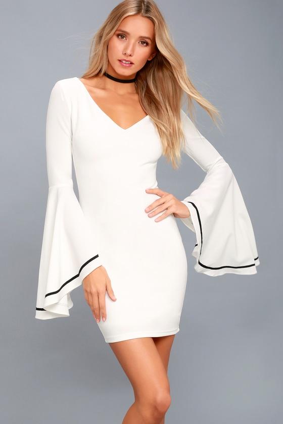 82632955ddbe Stunning White Dress - Bell Sleeve Dress - Bodycon Dress