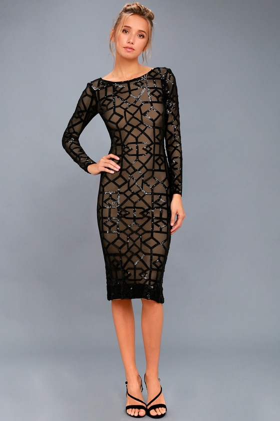121cd8bcd86 Dress the Population Mila Dress - Sequin Dress - Mesh Dress