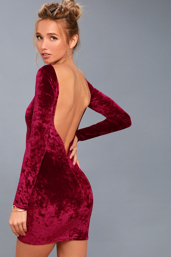 Star Struck Burgundy Velvet Long Sleeve Backless Bodycon Dress f55d69607
