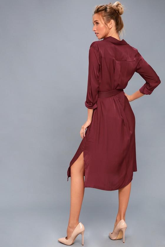 df06781d51b7 Chic Burgundy Shirt Dress - Long Sleeve Dress - Midi Dress