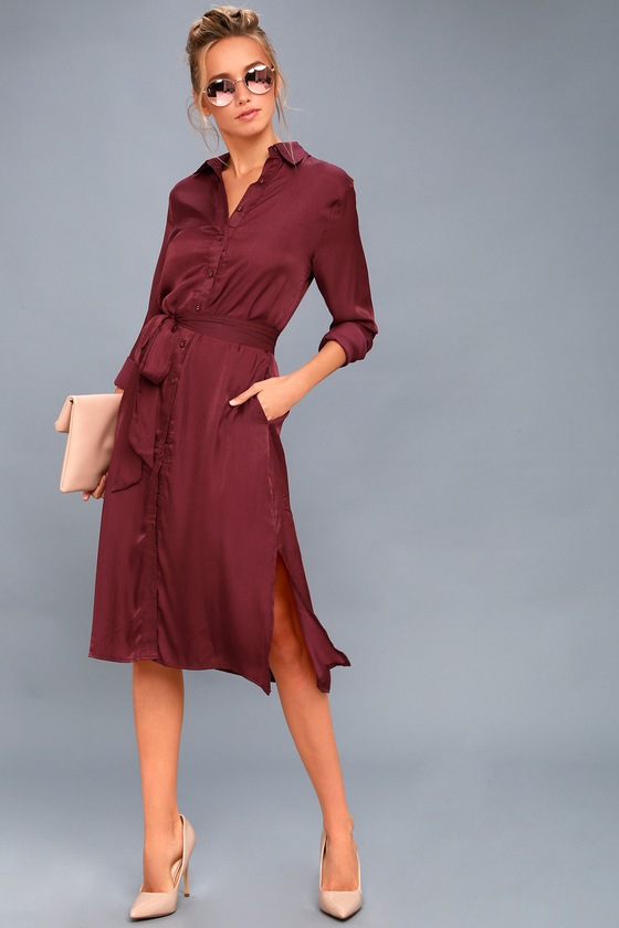 chic burgundy shirt dress long sleeve dress midi dress