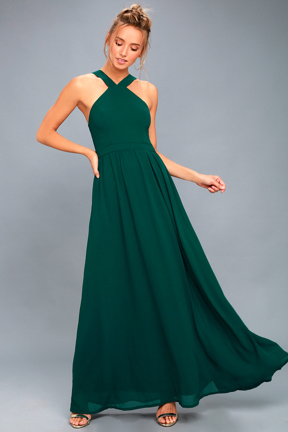 083ebc0a294 Beautiful Forest Green Dress - Maxi Dress - Halter Dress