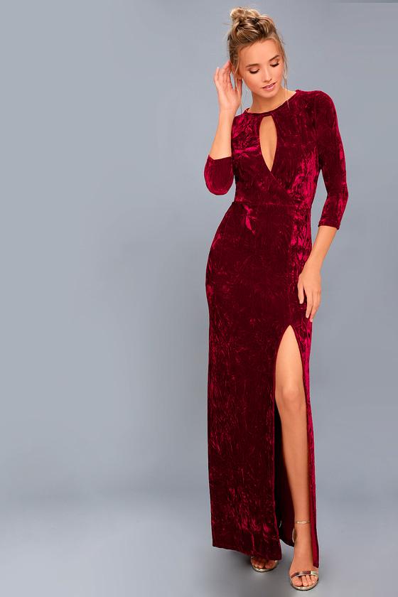 Keep Love Alive Wine Red Velvet Maxi Dress 1