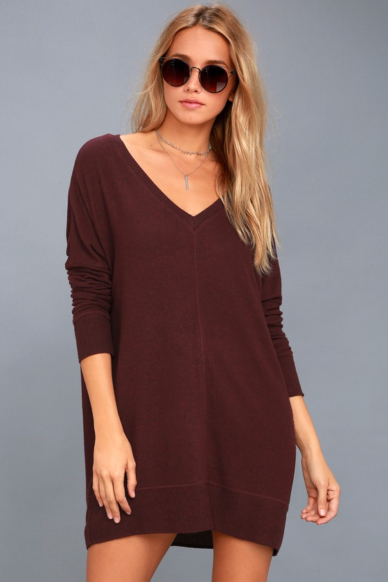 Cozy Sweater Dress - Plum Sweater Dress - Long Sleeve Dress