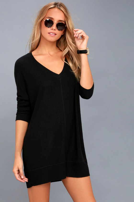98abc955c62 Cozy Sweater Dress - Black Sweater Dress - Long Sleeve Dress