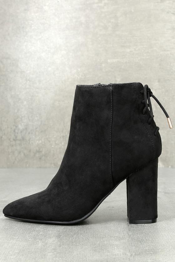 22357c91d961b Cute Black Booties - Lace-Up Booties - High Heel Booties