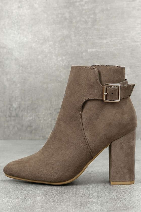 Neva Taupe Pointed Toe Ankle Booties 1