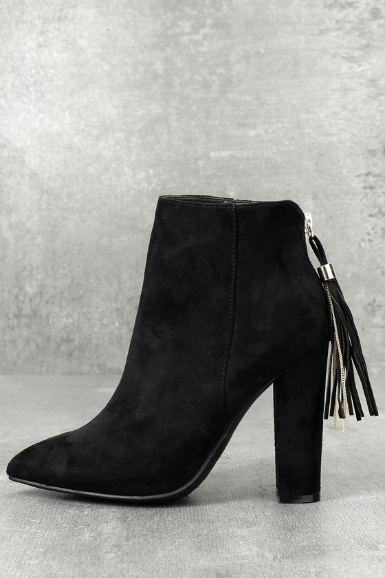 Mishka Black Suede Pointed Toe Ankle Booties 1