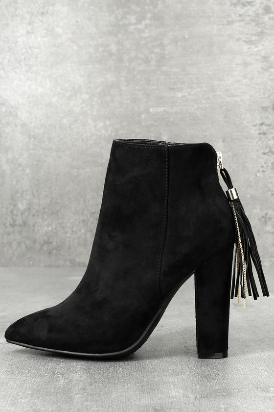 89d0ffc4f46e Chic Black Booties - Suede Booties - Block Heel Boots