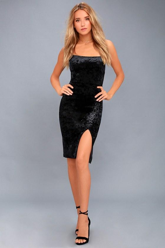 f24b73482f2 LBD - Black Velvet Dress - Bodycon Dress - Velvet Mini Dress