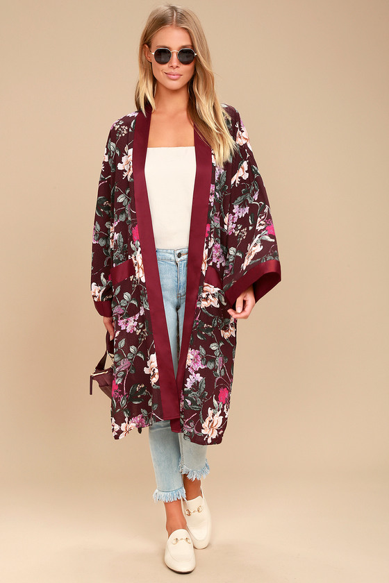 Morning Sun Burgundy Floral Print Kimono Top 4