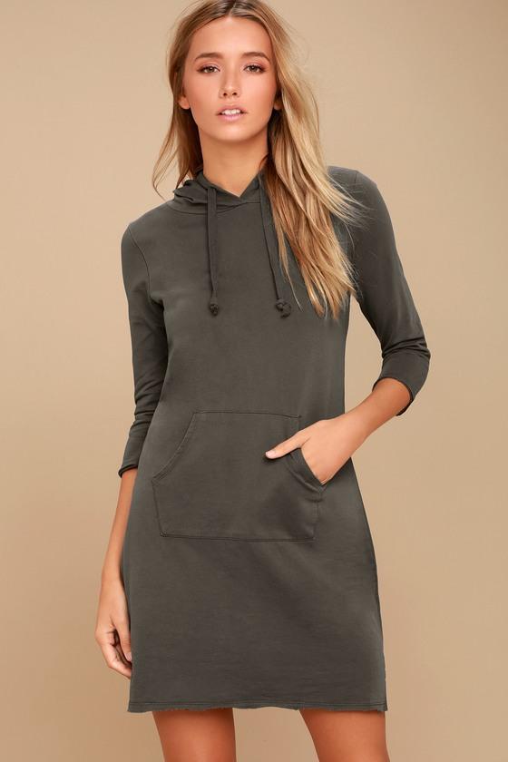Cool Waters Charcoal Grey Hoodie Dress 1