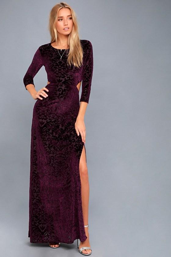 Perfect Night Plum Purple Velvet Print Maxi Dress 3