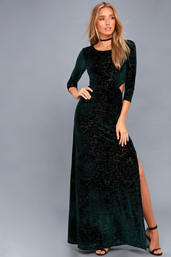Perfect Night Forest Green Velvet Print Maxi Dress 3