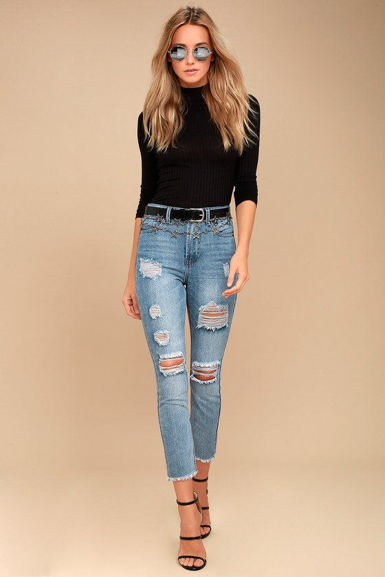 f7abaa74799 Cool Light Wash Jeans - Distressed Jeans - High-Waisted Jeans -  49.00
