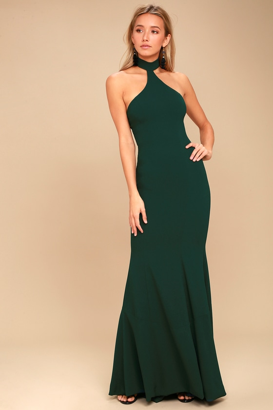 Taylor Forest Green Halter Maxi Dress 1