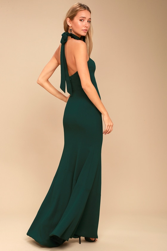 a94e8fe2936 Dress the Population Taylor - Forest Green Halter Maxi Dress