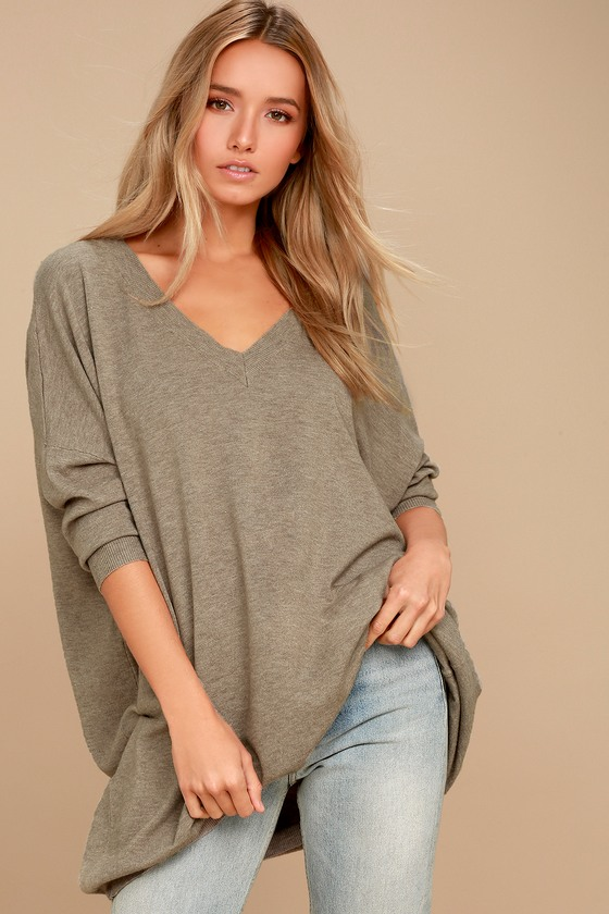 Light Brown Sweater - V-Neck Sweater - Oversized Sweater
