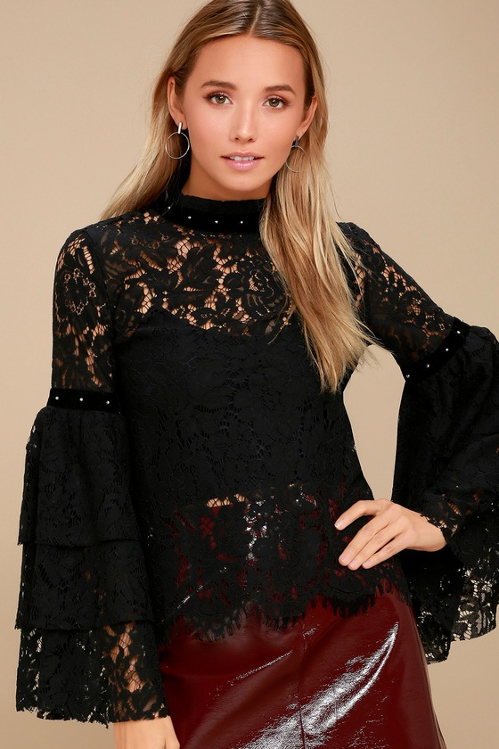 fa3fc05646507a Sexy Black Lace Top - Sheer Top - Bell Sleeve Top