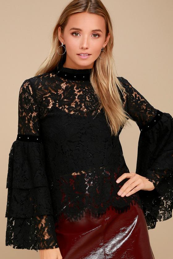 Love on Top Black Sheer Lace Long Sleeve Top 1