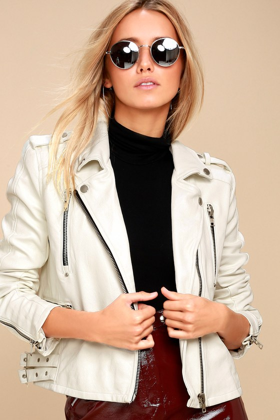 Ride Your Heart Out White Vegan Leather Moto Jacket 3