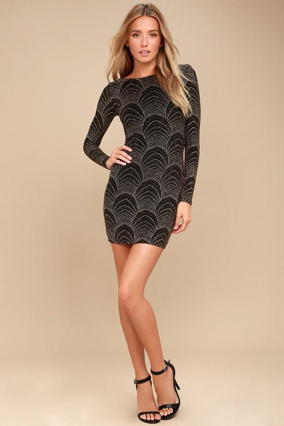 11eaff02edfb It s My Night Gold and Black Print Long Sleeve Bodycon Dress