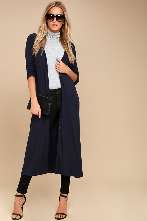 Graceful Ways Navy Blue Long Cardigan Sweater