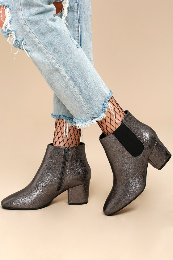 Magnus Pewter Metallic Ankle Boots $39