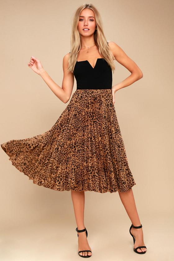 0b8c23cdaa3803 Others Follow Roxie Leopard - Pleated Skirt - Midi Skirt