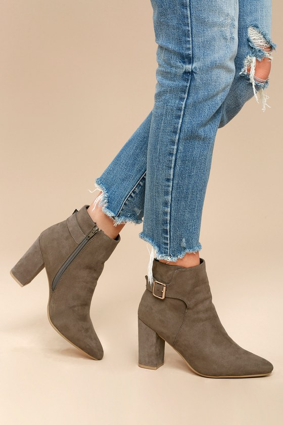 Neva Taupe Pointed Toe Ankle Booties 2