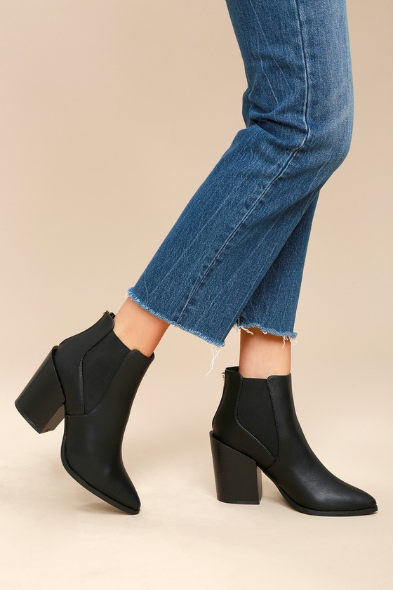 Novalie Black Pointed Toe Ankle Booties 2