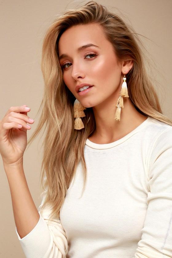 Ombre White and Beige Tassel Earrings 1