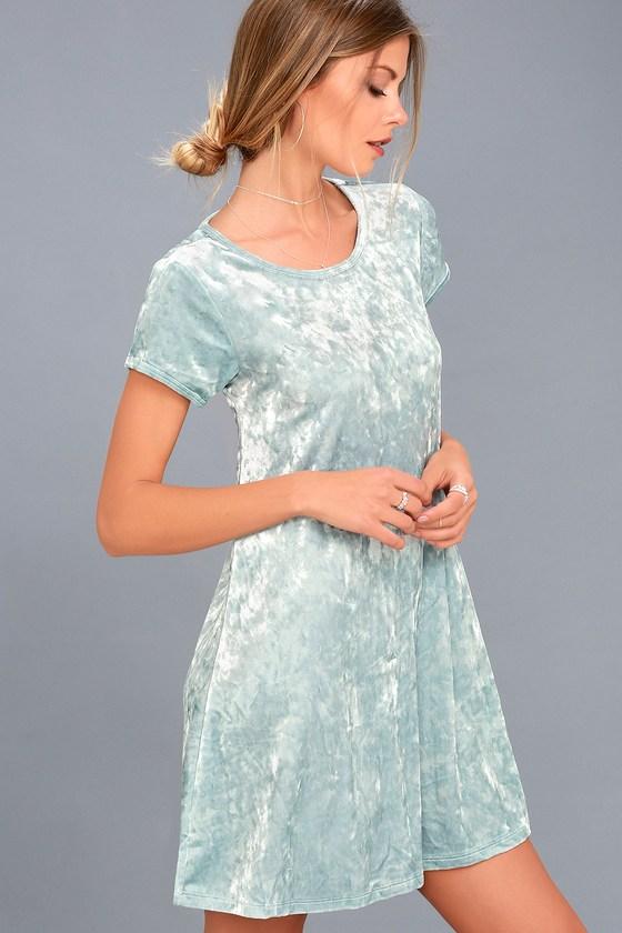 Nivea Light Blue Crushed Velvet Swing Dress 3