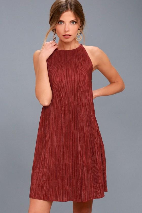 Olivia Rust Red Pleated Swing Dress 3