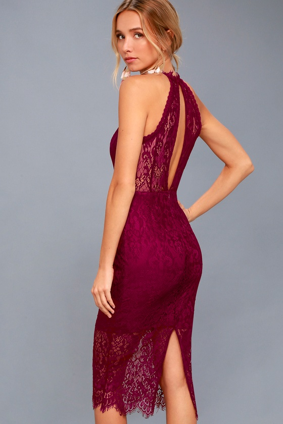 Kiss Me at Midnight Magenta Lace Halter Bodycon Midi Dress 2