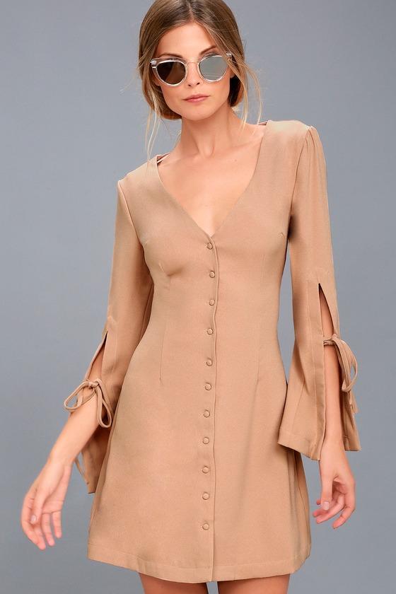 Jeanne Beige Long Sleeve Dress 1
