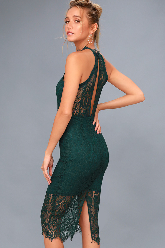 Kiss Me at Midnight Forest Green Lace Halter Bodycon Midi Dress 5