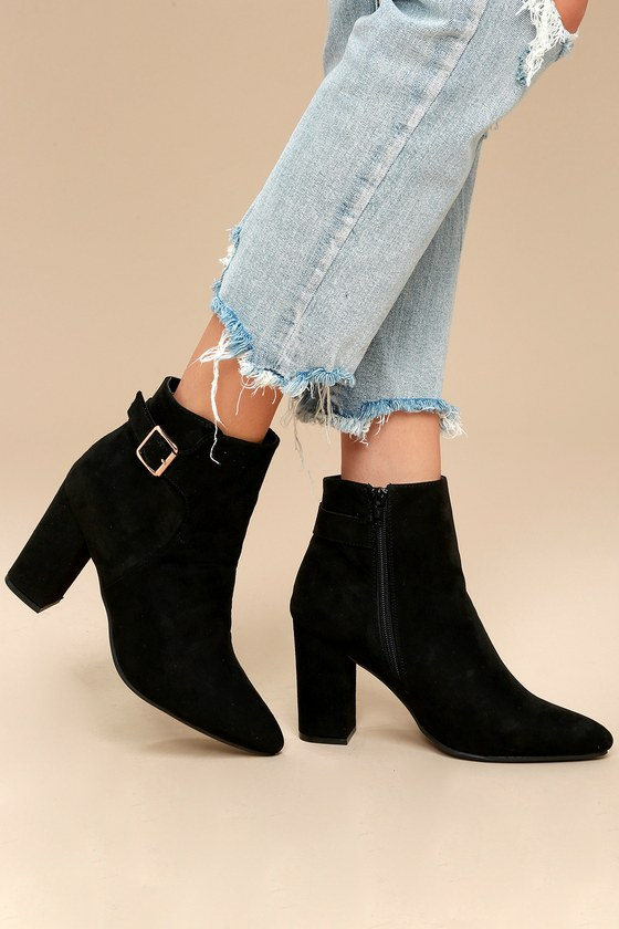Neva Black Pointed Toe Ankle Booties 2