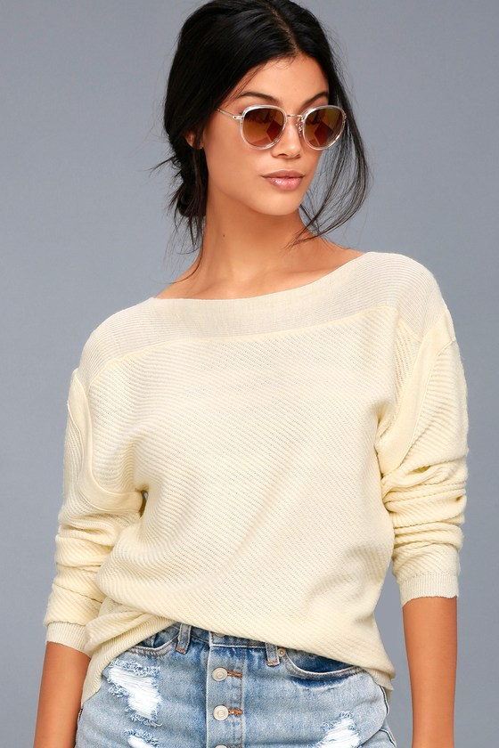 Mellow Move Cream Knit Sweater 3