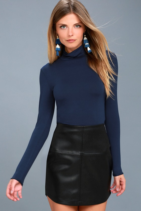 Hey There Navy Blue Long Sleeve Turtleneck Top 2