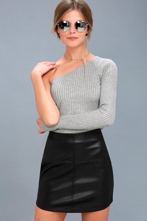 5ca63cb27bda Trendy Black Mini Skirt - Vegan Leather Mini Skirt