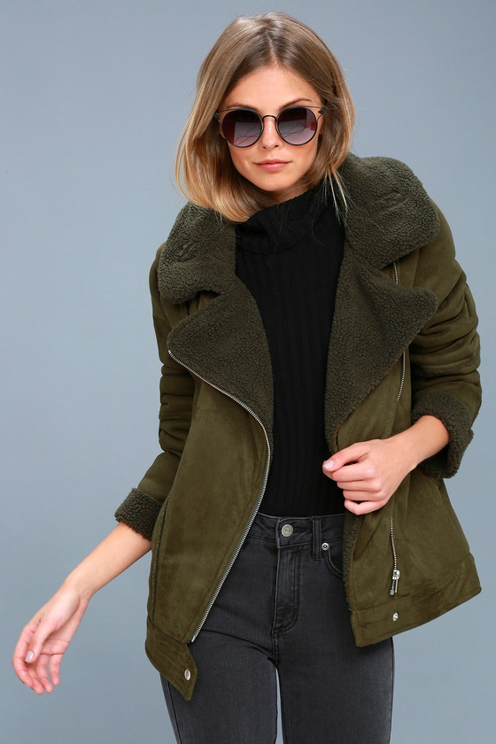The Fifth Label Dallas Olive Green Sherpa Coat