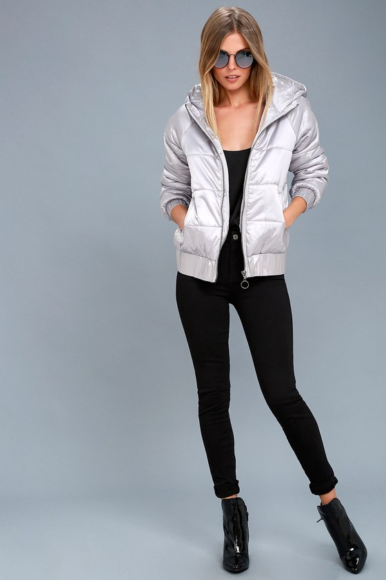 Hooded Puffa Silver Jacket 2