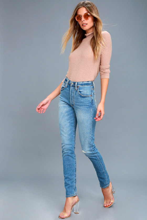 e89f901a054 Levi's 501 Skinny - Medium Wash Jeans - Distressed Jeans