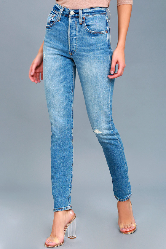 0a378666 Levi's 501 Skinny - Medium Wash Jeans - Distressed Jeans