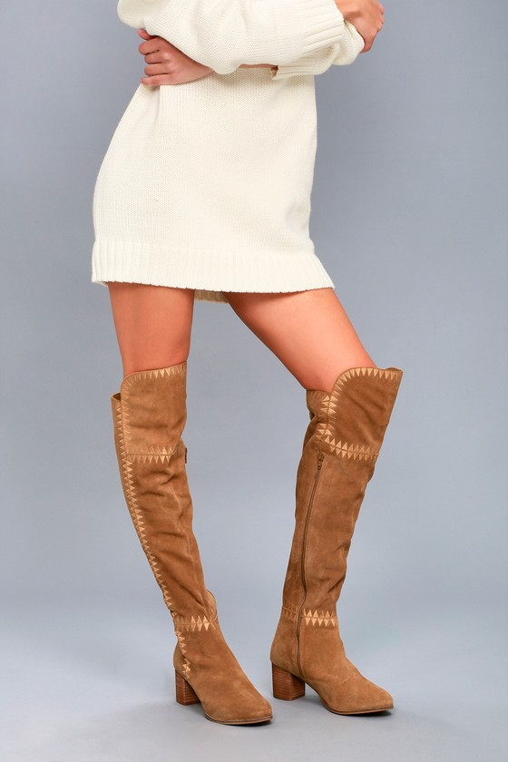 Moon Tan Suede Leather Embroidered Over the Knee Boots 5